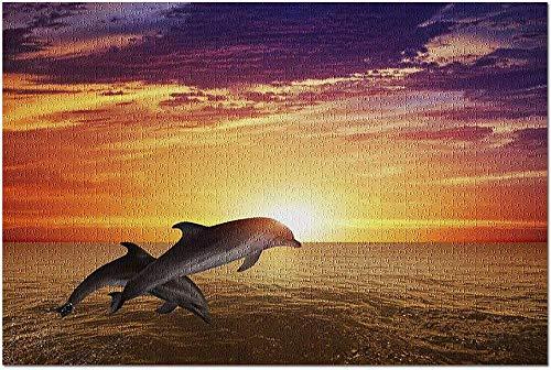 YYTOOF HD Zwei Delfine springen mit Buntem lebendigem Sonnenuntergang im Hintergrund 9003569 (Premium 500-teiliges Puzzle für Erwachsene 52*38cm Made in USA!)
