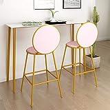 Moderno juego de 2 taburetes de bar, taburetes de bar con respaldo, silla de bar para el comedor de la cocina, tapizado en terciopelo rosa, patas de metal dorado, altura del asiento 68cm (sin mesa)