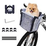 Vikaster Cesta Bicicleta Delantera Desmontable,Cesta Plegable para Bicicletas Bolsa de Transporte de Mascotas con Marco de Aleación de Aluminio Cesta Bici para Perros Gatos,Bolsa de Compras Ecológica