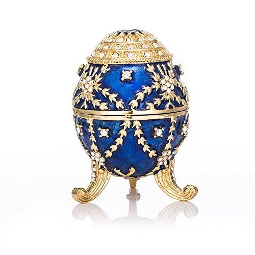 QIFU cofanetto portagioie a forma di uovo Fabergé, smaltato e dipinto a mano, apribile, regalo unico per la casa