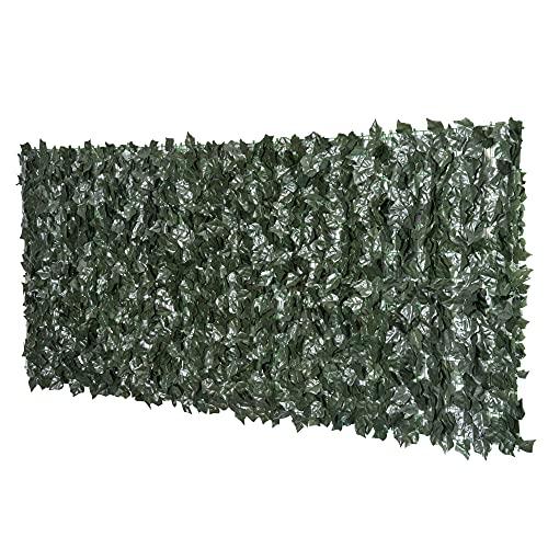 Outsunny Rotolo di Siepe Artificiale per Balcone e Giardino in PE Anti-UV, Siepe Finta con Foglie Verde Scuro 240x100cm