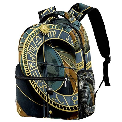 Mochila grande y fresca de dinosaurio lindo niños durable personalizada mochila Bookbags con correas de hombro ajustables reloj astronómico Praga