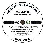 20 FT 3/4' 19mm Polyolefin Black Heat Shrink Tubing 2:1 Ratio