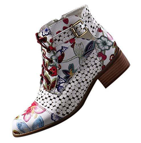 Fannyfuny Botas para Mujer Vintage Tacones Comodos Zapatillas de Cuña Tacon Alto Botines Martin Low Top con Estampalme Bota Transpirables Calzado Casuales Zapatos Comodos Tobillo