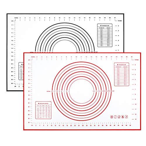 falllea 2 Piezas de Tapetes para Hornear Tapete de Silicona para Amasar y Hornear Estera de Repostería Salvamantel de Silicona para Amasar Tartas o Pasteles Tapete de Cocción Silicona 60x40cm