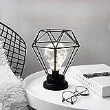 Metall Tischlampe,SUAVER Diamond Form Nachttischlampe Stehlampe,Batteriebetrieben Nordic Style Eisen Schreibtischlampe kreative Nachtlicht dekorative Beleuchtung für Schlafzimmer, Hotel (Schwarz)