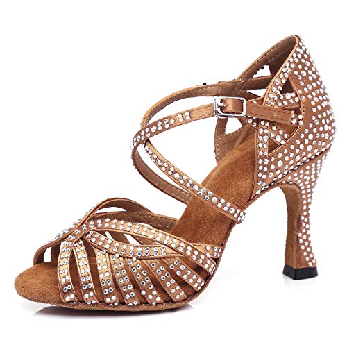Pierides Women's Suede Sole Rhinestone Ballroom Dance Shoes Latin Salsa Performance Dance Shoes 3.5' Heel,8 US