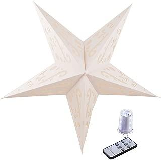 Quasimoon PaperLanternStore.com Illuminated White Random Cordless Lighted Star Lantern, Omni360 Battery Powered
