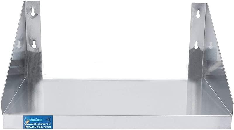 24 Length X 24 Width Stainless Steel Microwave Shelf Metal Appliance Shelving Heavy Duty Commercial Grade Wall Mount NSF Certified Silver