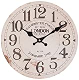 Perla pd Design - Reloj de pared para cocina de diseño vintage, 28cm de diámetro, madera, Londres