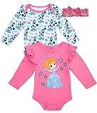 Disney Newborn Baby Girls 3-Piece Long Sleeve Bodysuits with Matching Bow Headband, Size 0-3 Months, Pink Princess