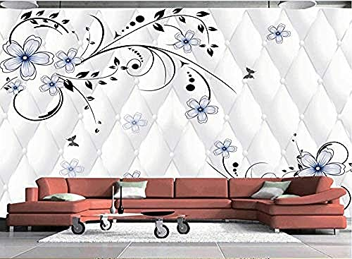 Papel pintado de flores de línea suave pintado a mano para mural de decoración de pared de sala de estar de dormitorio Pared Pintado Papel tapiz 3D dormitorio de estar sala sofá mural-430cm×300cm