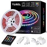 TUIREL Led Strip Lights 50ft with 5050 SMD LED Color Changing Strip Light Keys Remote Controller and 12V Power
