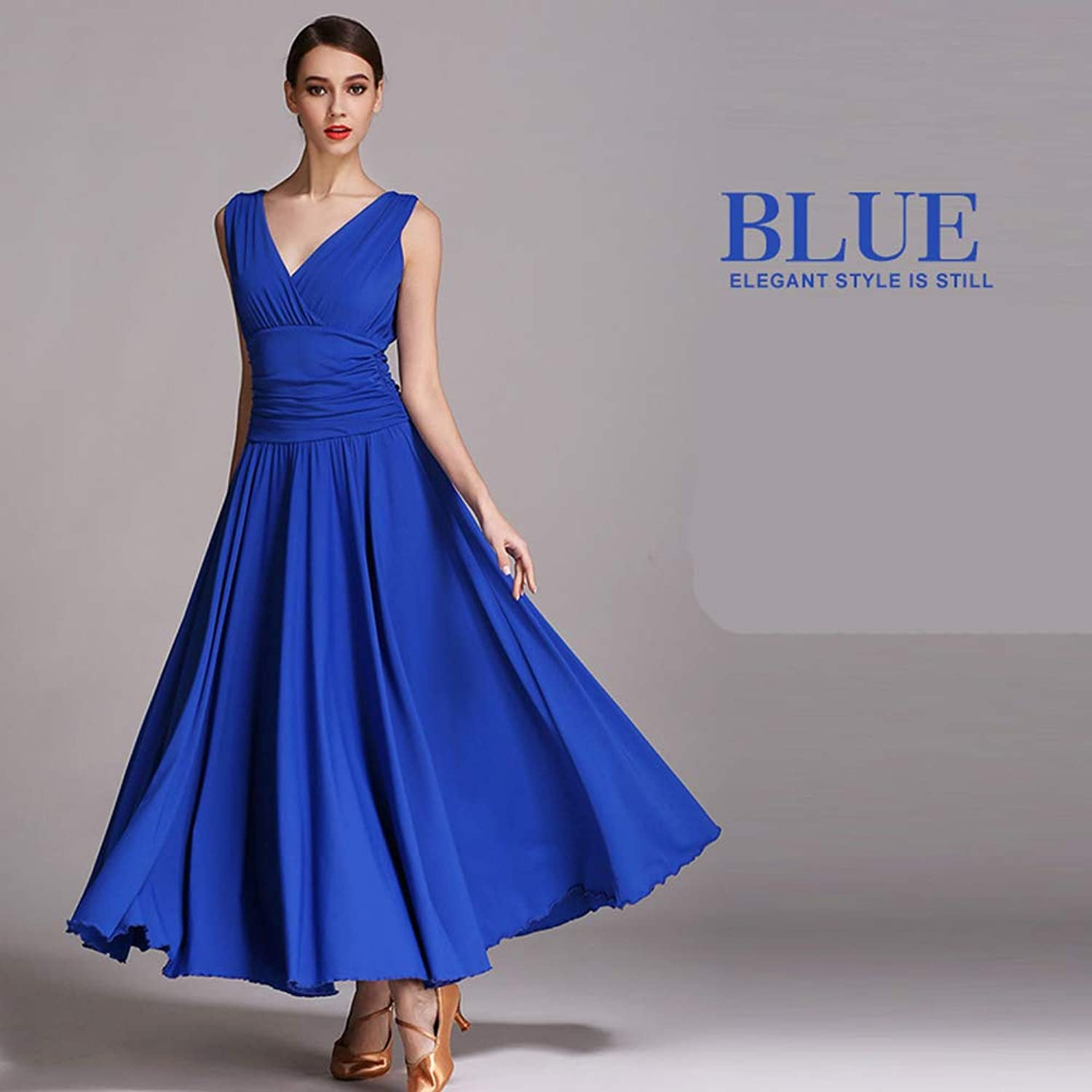Women Classic Dance Skirt Latin Dance Belly Dance Costumes Deep VNeck blueee Milk Fiber Ballroom Dancing Plus Size XL 2XL Prom Dress