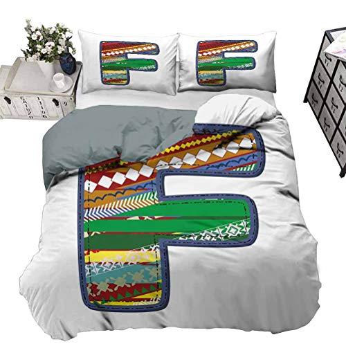 UNOSEKS LANZON - Funda de edredón con diseño de letra F, estilo vintage, diseño geométrico, tejido suave, para cama de matrimonio, 264 x 230 cm