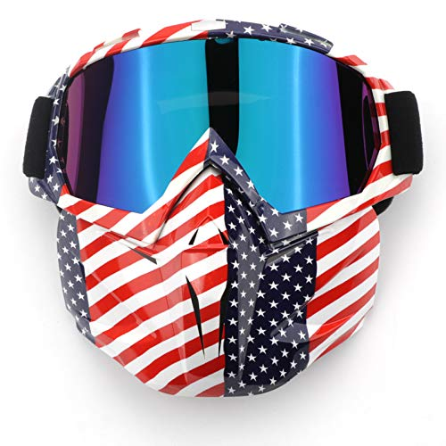 EKIND Tactical Paintball Mask, Retro Motorcycle Goggles with Removable Face Mask, Airsoft Safety Goggles Mask UV400 Protection Compatible for Nerf Elite Toy Gun Game Rival Ball (American flag)