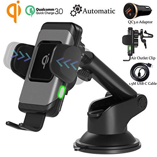 Wefunix Automatisch Fast Wireless Charger Auto Handyhalterung Elektronisch Motor Betrieb Qi Ladestation KFZ +QC3.0 Adapter, 10W/7,5W für iPhone 11 Pro XS Max XR, Samsung Galaxy S20 S10 S9 S8 Note 10/9
