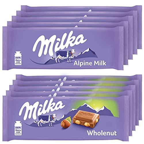 chocolate bars Milka European Chocolate Bars Variety Pack, Alpine Milk Chocolate & Wholenut Hazelnut Chocolate, 10 - 3.52 oz Bars
