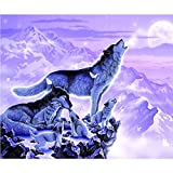 Paint by Numbers for Adults Wolf Clan DIY Oil Painting by Numbers for Adults Beginner&Kids with Paintbrushes and Acrylic Pigment 16x20inch