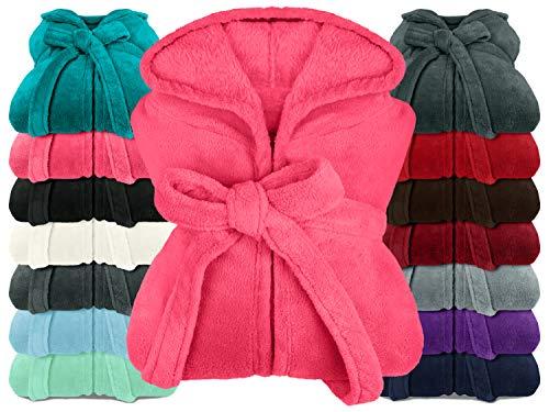 npluseins extra weicher Kapuzen-Bademantel aus Kuschelfleece - in modernen Farben und verschiedenen Größen - Unisex & wadenlang, S, pink