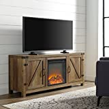 Home Accent Furnishings New 58 Inch Barn Door Fireplace Television Stand - Rustic Oak Finish