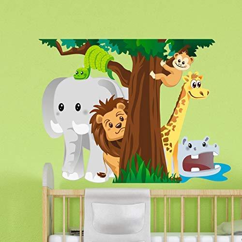 Stickers adhésifs Enfants | Sticker Autocollant animaux de la savane - Décoration murale chambre enfants | 50 x 65 cm