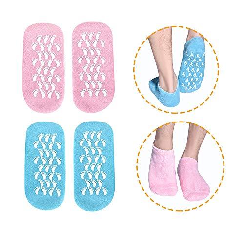 Feuchtigkeitsspendende Socken, 2 Paar Feuchtigkeitsspendende Gel-Socken, Gel-Spa-Socken zur Reparatur und Erweichung trockener, rissiger Fußhaut, Gel-Futter mit ätherischen Ölen und Vitaminen