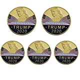 5 Pcs Donald Trump 2020 Gold Plated Coins, President Commemorative Challenge Coin with A Case and Stand