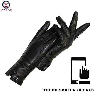 New Women's Gloves Genuine Leather Winter Warm Fluff Woman Soft Female Rabbit Fur Lining Riveted Clasp Mittens Women's Gloves