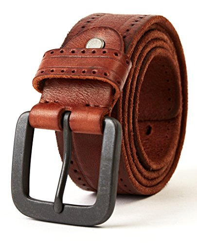 """3ZHIYI Cintura Uomo 100% Vera Pelle di bufalo (Marrone, 110CM (dimensione rettificata 33""""-39""""))"""