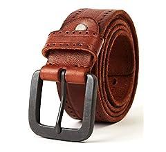 3ZHIYI Vintage Cintur/ón de piel de 100/% b/úfalo cuero de pantalones vaqueros para hombre