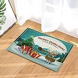 Navidad Gracioso Reno de Nariz Larga Pino Alfombrillas de baño, felpudos, Antideslizantes y fáciles de Limpiar, imprescindibles del hogar40x60cm