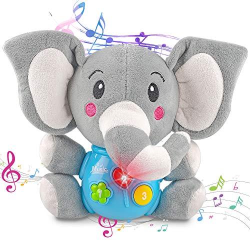 aovowog Peluche Interactivo Elefante,Juguetes Bebés 6 Meses más,Juguetes Suaves con Sonido Musical,Juguete Educativo Temprano con Música y Luces,Regalo para Niños Pequeños