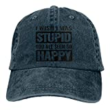 I Wish I was Stupid, You All Seem So Happy. Gorra de béisbol ajustable, unisex, lavable, de algodón