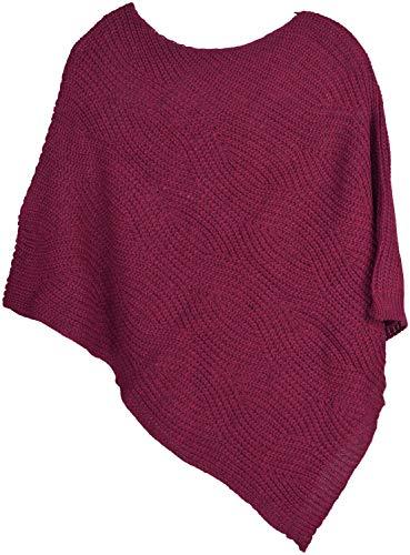 styleBREAKER Poncho de Punto para Mujer con Estampado Ondulado, Poncho de Cuello Redondo Unicolor, Punto Grueso cálido, sin Mangas 08010074, Color:Frambuesas