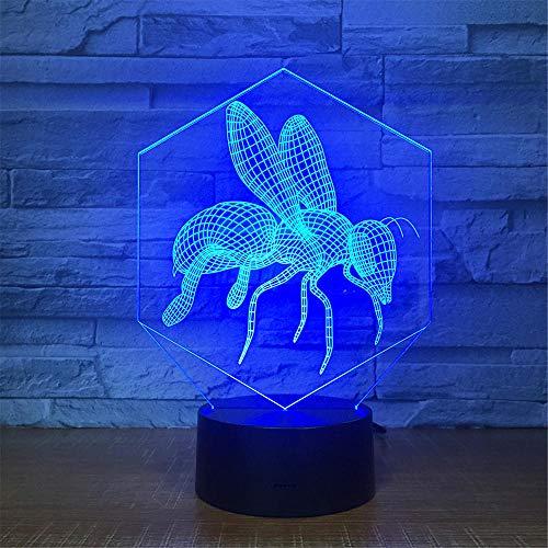 Nachtlampje honing kinderen nachtlampje 3D optische illusie 7 kleuren veranderende verlichting verjaardag Kerstmis verbazingwekkende cadeaus voor baby kinderen meisjes