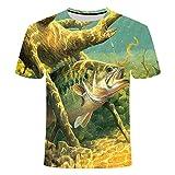 Camiseta de Manga Corta con Estampado de Pesca Informal en 3D de Manga Corta para Hombres, como en la Imagen, L