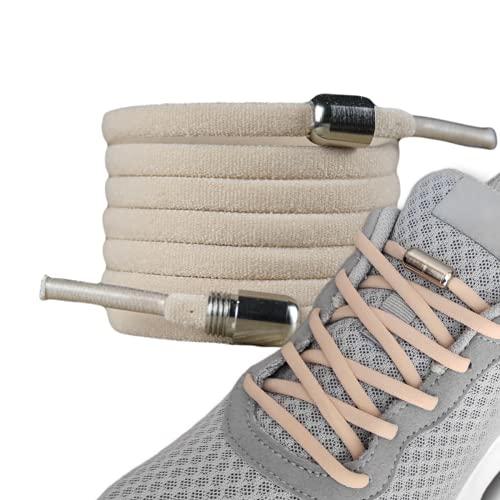 LaceHype - 2 Paar Premium Elastische Schnürsenkel mit Metallkapseln ohne binden - Set für 2 Paar Schuhe - mit Kapseln für Sneaker, Laufschuhe, Sporschuhe (Beige, oval)