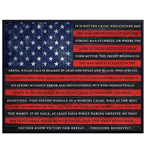 Patriotic Flag of Daring Greatly Teddy Roosevelt Quote - Motivational Inspirational Poster Wall Art - Wood Sign Replica Home Decor Print - Great Gift for Military Armed Services Veterans, Vets - 8x10
