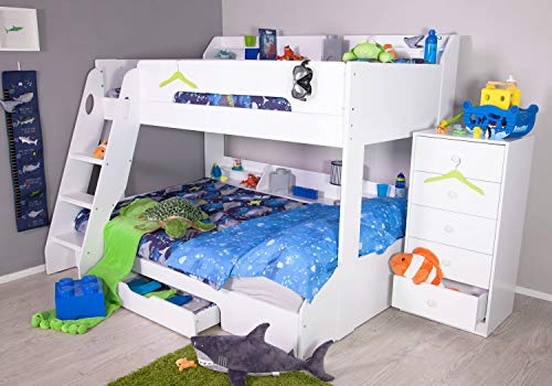 Flick Triple Bunk Bed in White by Flair Furnishings