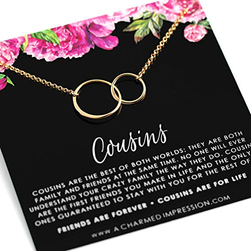 Cousin Gifts for Women Girls • Card and Gift for Cousin Woman • 2 Connected Eternity Circles • 14k Gold Necklace • Gifts for Cousins • Family Jewelry • Friends Forever • Friendship Love Quote Saying