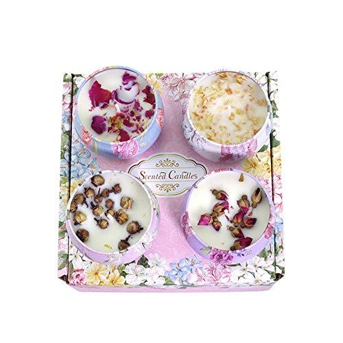 CINY Paquete de 4 Velas Perfumadas De 125 g, Juego De Regalo De Velas De Aromaterapia De Cera De Soja, Velas De Flores Secas Perfumadas, Rosa, Jazmín, Peonía, Camelia para Cumpleaños, Bodas, Fiestas