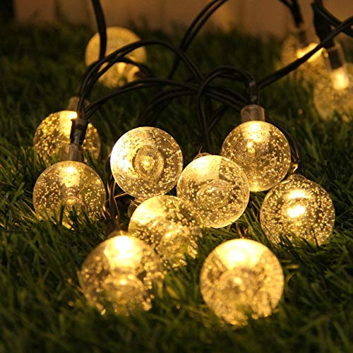 XXYWJF LED Solar Garden Light Outdoor 5/7/12m 20/50/100 Crystall Ball Bulbs String Lights Lamp Home Christmas Decoration Chain Lighting Strings (Emitting Color : Warm light, Wattage : 5M 20 led)