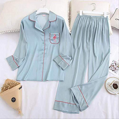 XFLOWR Schlafanzug für Damen, Frühling und Herbst, Cartoon-Flamingo, bedruckt, Komfort, Seide, Flecken, Nachtwäsche, Set, elegant, pink, dünn, blau, L