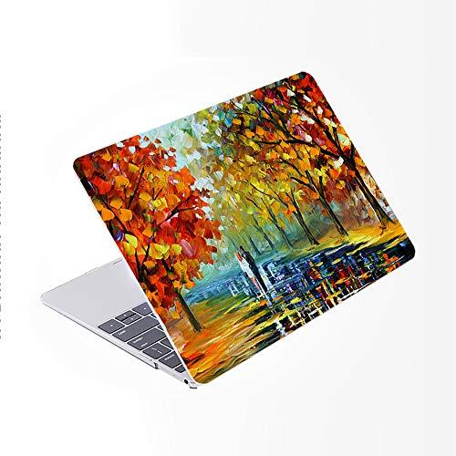 SDH Funda para MacBook Pro de 15 pulgadas 2019 2018 2017 2016 A1990 A1707,patrón de plástico y piel de teclado degradado compatible con Mac Pro 15 Touch Bar & ID, pintura de paisaje 14