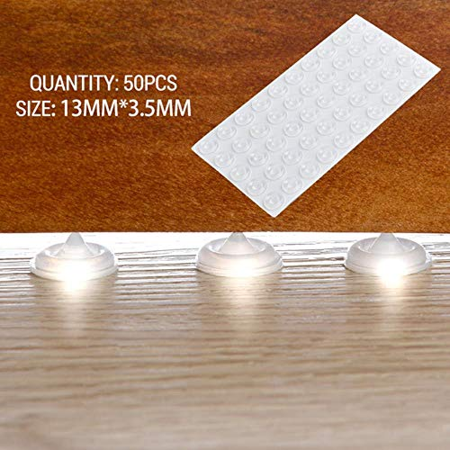 Silicon Rubber Furniture Pads Kitchen Cabinet Door Pad Self-Adhesive Bumper Stop Damper Cushion Protective Pad Hardware,13x3.5mm - 50pcs