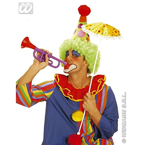Widmann - AC1831 - Trompette clown sonore Couleurs assorties 30 cm - Trompette clown sonore 4 couleurs assorties