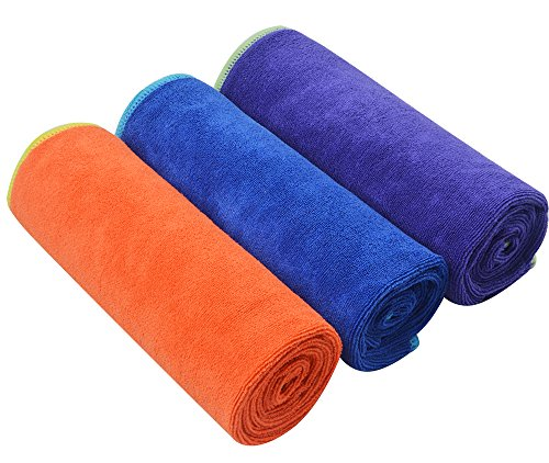 SINLAND Microfiber Fast Drying Gym Towels Sports Fitness Workout Sweat Towels 3...
