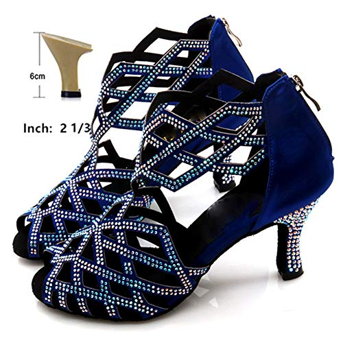 HOAPL Damen Latein Tanzschuhe Diamant High-Heeled 6cm-10cm Tanzschuhe Blau Strass Latino Tanz Schuhe mit Reißverschluss,6cm,5.5