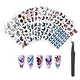 30 Feuilles Ongles Autocollants de Papillon, Nail Art Stickers de Transfert D'eau avec une pince à Épiler pour des Femmes Filles Portant Quotidiennement des Decoration Art Ongle de Gel Fête